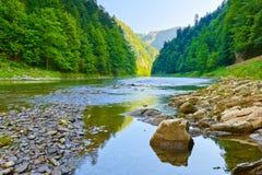 The Dunajec River Gorge. Pieniny National Park. Stone in The Dunajec River Gorge. National border between Poland and Slovakia. The Pieniny Mountains Range Stock Image