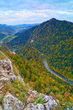 The Dunajec River Gorge. View from The Sokolica Mo. The Dunajec River Gorge view from The Sokolica mountain (847 m - Poland) to Lesnica (Slovakia). Pieniny Stock Image