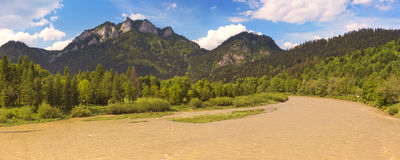 Dunajec River and Pieniny Mountains stock image