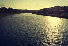 Dunajec river. Sunset over Dunajec River (Slovakia and Poland border) - vintage effect Stock Photo