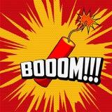 Dunamite. Comic book explosion. Dynamite. Boooom!!! phrase on pop art style background Royalty Free Stock Photos