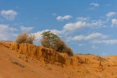 Dunas de areia alaranjadas e um céu azul brilhante com nuvens fotos de stock