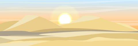 Dunas de areia Deserto de Sahara Paisagem realística do vetor ilustração stock