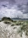 Dunas de areia na praia de Mulranny, condado Mayo Imagem de Stock