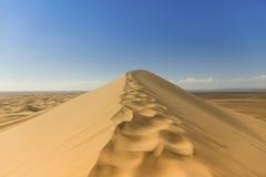 Dunas de arena de oro del canto del desierto de Gobi Fotos de archivo libres de regalías