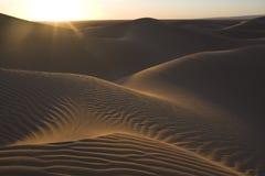 Dunas de arena del desierto con puesta del sol Foto de archivo
