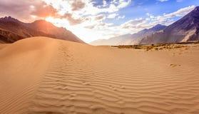 Dunas de arena del valle de Nubra Fotos de archivo