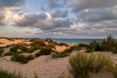Dunas de arena en la puesta del sol Imagenes de archivo