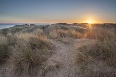 Dunas de arena en la salida del sol Foto de archivo libre de regalías