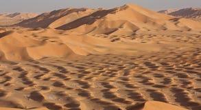 Dunas de arena en Sunset#4: Montones de la arena de oro Fotografía de archivo