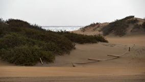 Dunas de Maspalomas - Gran Canaria - Spanien - am Sturm - gekippte Seilsperre stockfotos