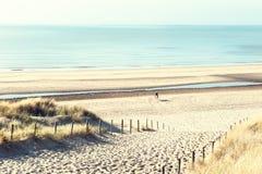 Dunas de Sandy na costa de mar em Países Baixos imagem de stock