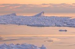 Dunas de Saugatuck de la puesta del sol del invierno Imagen de archivo libre de regalías