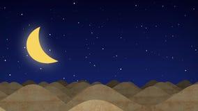 Dunas do deserto dos desenhos animados animados em uma noite estrelado com lua