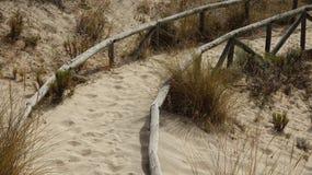 Dunas e caminho de areia imagens de stock