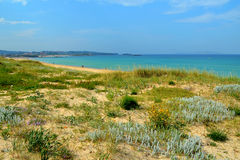 Dunas naturais na praia de Lanzada (Pontevedra, Galiza, Espanha) Fotografia de Stock Royalty Free