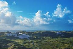 Dunas verdes em um dia ensolarado no Mar do Norte em Dinamarca fotos de stock royalty free