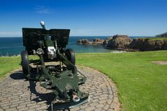 Dunbar hamn och slott Arkivbilder