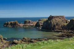 Dunbar Harbour And Castle Stock Image