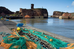 Dunbar Harbour and Castle, East Lothian Scotland Stock Photography