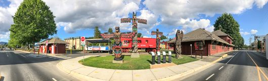 DUNCAN, CANADA - AUGUST 13, 2017: Charles Hoey Park on a beautfu. L summer day. The city is famous for its Totem Poles Stock Photo
