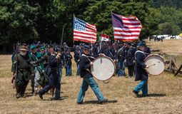 Duncan Mills, Calif / July 14, 2012: Men march in Union Army Uni stock photos