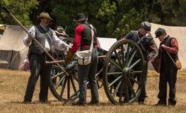 Confederate soldiers prepare canon Stock Image