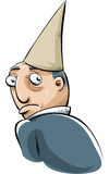 Dunce Cap. A cartoon man wearing a dunce cape in shame Royalty Free Stock Photos