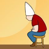 Dunce Hat Man on Stool Stock Images