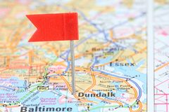 Dundalk, Maryland. Red flag pin on an old map showing travel destination Royalty Free Stock Photo