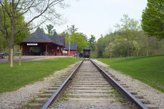 DUNDAS,CANADA-May 9,2015: Dundas Conservation area Trail Centre,. A victorian reproduction of a an old railway station with a short tract section built in 1929 Stock Image