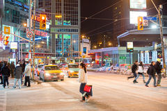 Dundas Square in Toronto,Canada. TORONTO,CANADA-FEBRUARY 28,2015: Dundas Square is the busiest intersection in Toronto and also a focal point of the downtown Stock Image