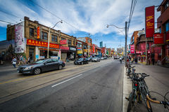 Dundas Street West, in Chinatown, Toronto, Ontario. Royalty Free Stock Photo