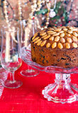 Dundee cake. And glasses of champagne Royalty Free Stock Image