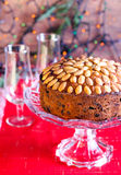 Dundee cake. And glasses, selective focus Royalty Free Stock Photography
