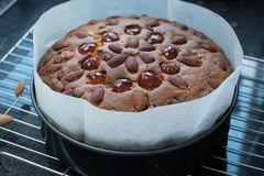 Dundee cake out of oven. Homemade, fresh baked dundee style fruit cake on cooling tray with baking sheet Royalty Free Stock Photos