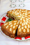 Dundee cake. On a plate Royalty Free Stock Image