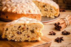 Dundee cake on a wooden table Stock Image