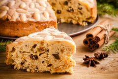 Dundee cake on a wooden table Stock Photo