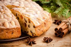 Dundee cake on a wooden table Stock Photography