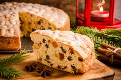 Dundee cake on a wooden table Royalty Free Stock Photos