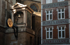 Dundee courier. The sign of Dundee Courier journal on the building in London Royalty Free Stock Image