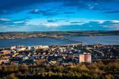 Dundee Law. Nice view over Dundee from up the hill (An extinct volcano formed around 400 million years ago, the 572-foot peak is the Dundee city's most Stock Photography