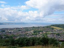 Dundee on the River Tay. Panorama of the city of Dundee and the river Tay, seen from the hill Dundee Law Royalty Free Stock Photos
