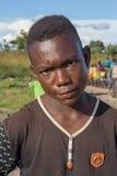 DUNDO/ANGOLA - 23 de abril de 2015 - retrato del africano rural feliz c Foto de archivo libre de regalías