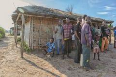 DUNDO/ANGOLA - 23 2015 KWIECIEŃ - Afrykańska wiejska społeczność, Angola Obraz Royalty Free