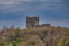 Dundonald Castle Under Renovation South Ayrshire Scotland. The town of Dundonlad in South Ayrshire has this ancient ruin that stands proudly above the town and stock photos
