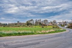 Dundonald Castle Under Renovation South Ayrshire Scotland. Dundonald, Scotland, UK - April 14, 2019: Looking down into the town of Dunonald with its ancient royalty free stock images