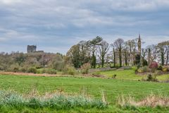 Dundonald Town, Village in the South West of Scotland. Looking down into the town of Dunonald with its ancient castle still under renovation with scaffolding stock photography