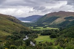 Dundonnell river, scottish highlands, Wester Ross. At cloudy day royalty free stock photo